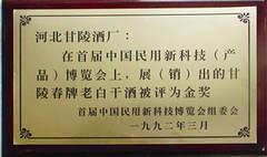 首届中国民用新科技博览会金奖